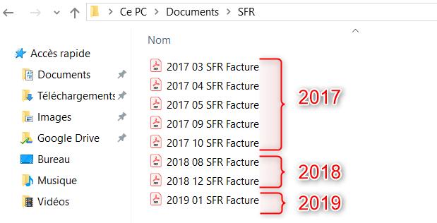 Classement des fichiers informatiques datés