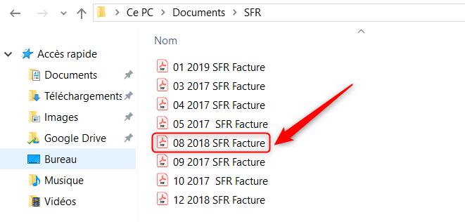 Classement erroné des fichiers datés sur Windows