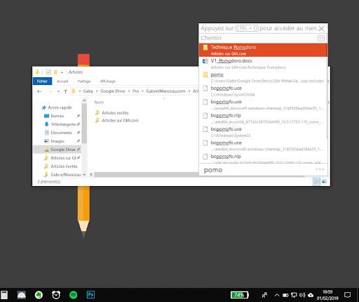 Commande de recherche automatique de Listary depuis le gestionnaire des tâches