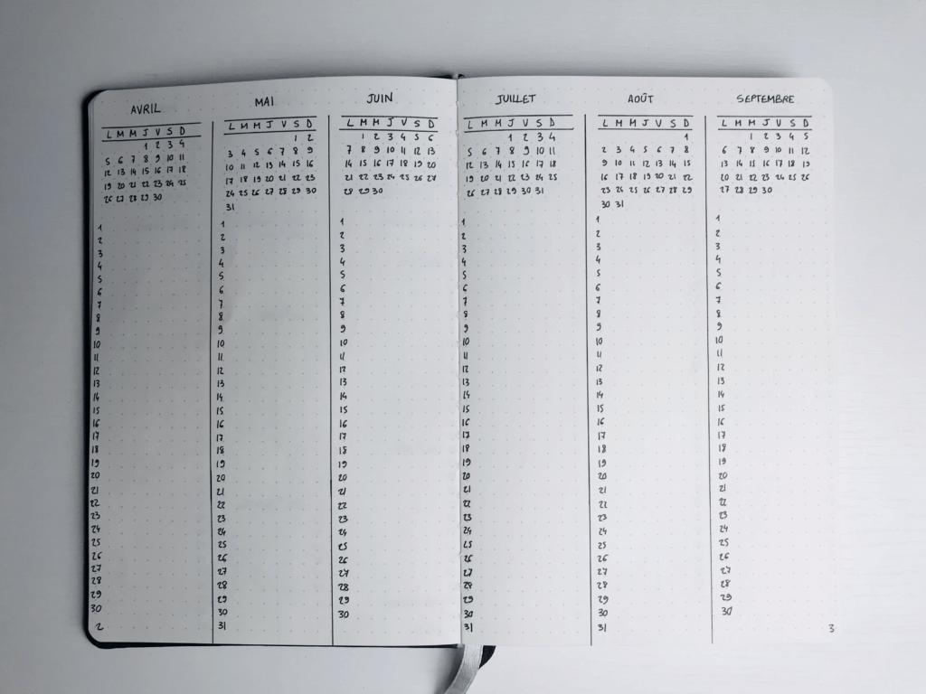 calendrier annuel bujo